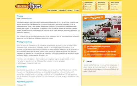 Screenshot of Privacy Page holidayspot.nl - Privacy - captured Sept. 19, 2014
