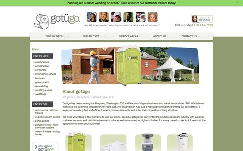 Screenshot of About Page gotugo.com - Porta Potty Rentals About Us | Rent in DC, VA & MD | gotügo - captured July 25, 2018