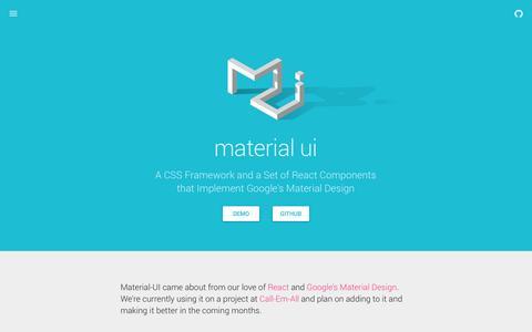 Screenshot of Home Page material-ui.com - Material UI - Material Design React Components - captured Dec. 13, 2014