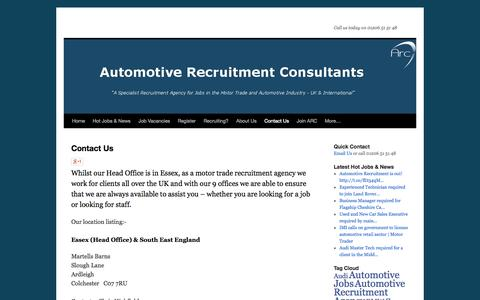 Screenshot of Contact Page Locations Page arc-uk.net - Automotive Recruitment Contact Details   - captured Oct. 25, 2014