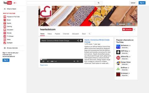 Screenshot of YouTube Page youtube.com - heartsdotcom  - YouTube - captured Oct. 22, 2014