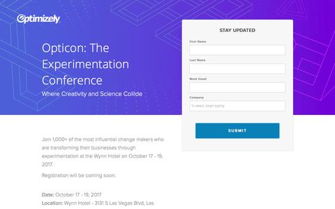 Screenshot of Landing Page optimizely.com - Opticon: The Experimentation Conference - captured April 26, 2017