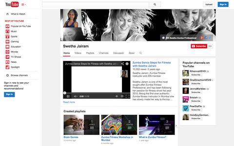 Screenshot of YouTube Page youtube.com - Swetha Jairam  - YouTube - captured Oct. 29, 2014
