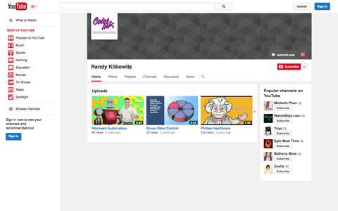 Screenshot of YouTube Page youtube.com - Randy Klibowitz  - YouTube - captured Oct. 23, 2014
