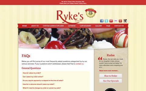 Screenshot of FAQ Page rykes.com - FAQs - Ryke's Bakery, Catering, & Cafe - Muskegon MI Ryke's Bakery, Catering, & Cafe - captured Dec. 1, 2016