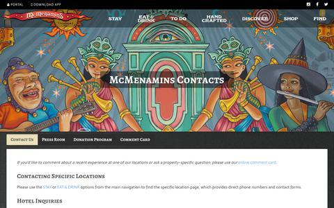 Screenshot of Contact Page mcmenamins.com - Contact Us - McMenamins - captured July 2, 2017