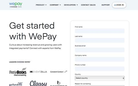 Screenshot of Contact Page wepay.com - Contact Sales | WePay Payments for Platforms | Get Started - captured Sept. 3, 2019