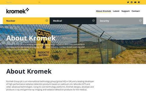 Screenshot of About Page kromek.com - About Kromek - Kromek - captured July 13, 2018