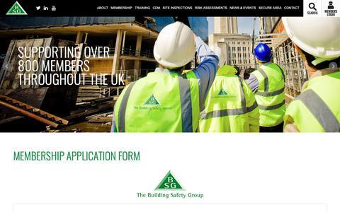 Screenshot of Signup Page bsgltd.co.uk - Membership Application Form   BSG's secure membership area - captured Oct. 18, 2018