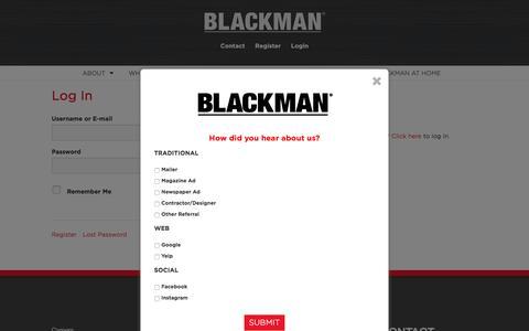 Screenshot of Login Page blackman.com - Log Into Blackman Plumbing Supply - captured Oct. 10, 2017