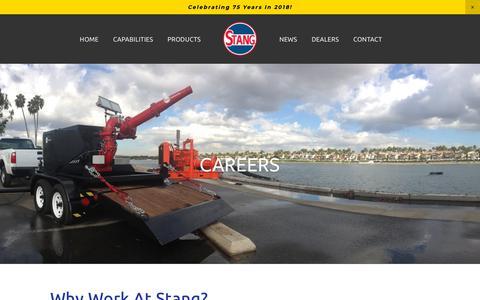 Screenshot of Jobs Page stangindustries.com - Careers — Stang - captured Oct. 24, 2018