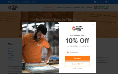 Screenshot of Press Page rushordertees.com - About the Team at RushOrderTees™ - captured Oct. 18, 2018