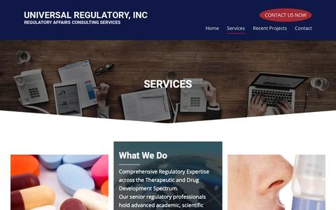 Screenshot of Services Page universalregulatory.com - Services - Universal Regulatory Inc. - captured Oct. 20, 2018