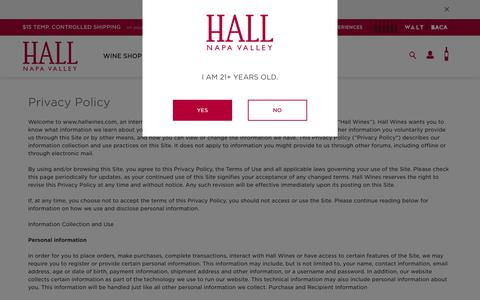 Screenshot of Privacy Page hallwines.com - Privacy Policy | Napa Valley | HALL Wines - captured Sept. 30, 2018