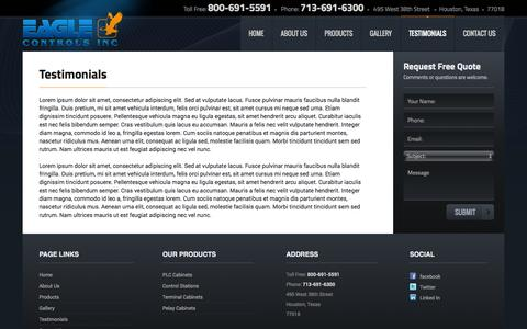 Screenshot of Testimonials Page eaglecontrolsinc.com - Testimonials - captured Sept. 29, 2014