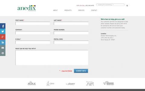 Screenshot of Contact Page anedix.com - Contact Us - captured Oct. 4, 2014