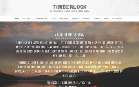 Screenshot of Home Page timberlock.com - Timberlock, an Adirondack family resort since 1899. - captured June 19, 2016