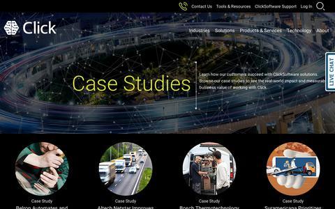 Screenshot of Case Studies Page clicksoftware.com - ClickSoftware Customer Case Studies - captured Oct. 23, 2018