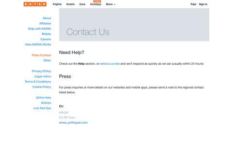 Screenshot of Press Page kayak.ie - Press Contact - KAYAK - captured Sept. 29, 2018
