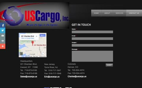 Screenshot of Privacy Page Contact Page uscargo.us - Contact us - captured Oct. 23, 2014
