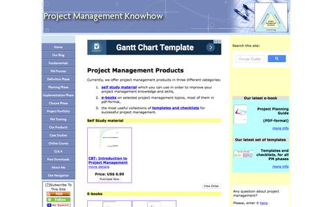Screenshot of Products Page project-management-knowhow.com - Project Management Products - captured July 22, 2017