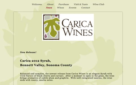 Screenshot of Press Page caricawines.com - News —         CARICA WINES - captured May 14, 2017