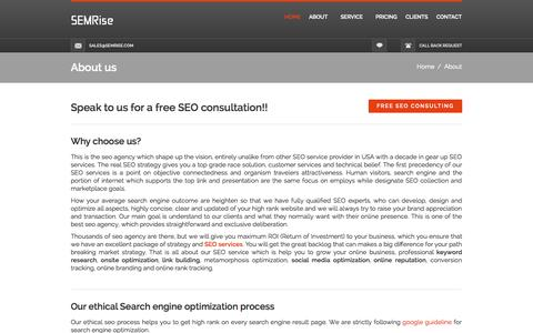 Screenshot of About Page semrise.com - About SEMRise Groups - captured Sept. 30, 2014