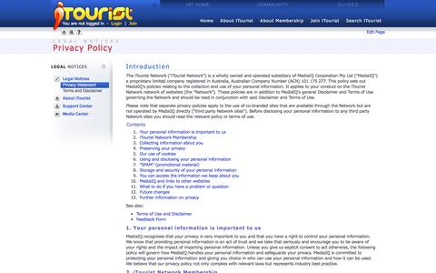 Screenshot of Privacy Page itourist.com - Privacy Policy - Life's a journey - share it with iTourist! - captured June 4, 2016