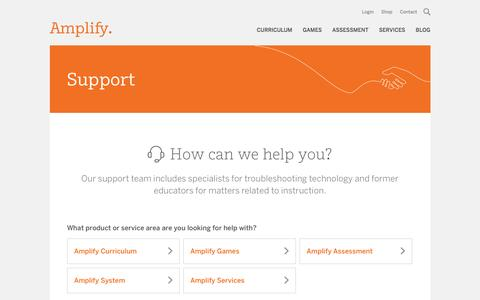 Screenshot of Support Page amplify.com - Support | Amplify - captured Sept. 28, 2016