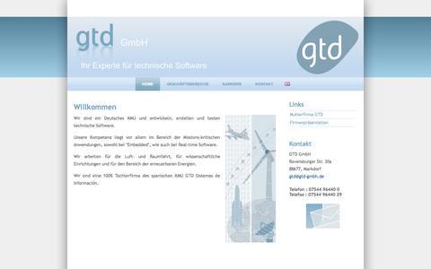 Screenshot of Home Page gtd-gmbh.de - GTD GmbH - captured Sept. 27, 2014