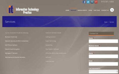 Screenshot of Services Page itpractice.com - Services  »  IT Practice - captured Nov. 2, 2014