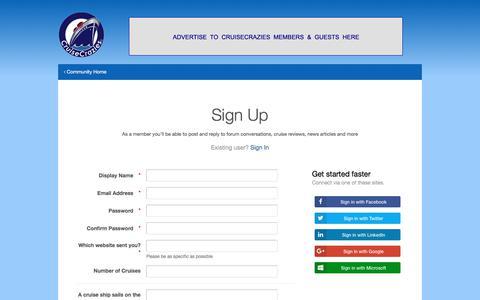 Screenshot of Signup Page cruisecrazies.com - Registration - CruiseCrazies - captured Aug. 31, 2017