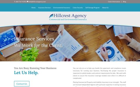 Screenshot of Services Page hillcrestagency.com - Insurance Services - Hillcrest Agency - captured Jan. 30, 2016