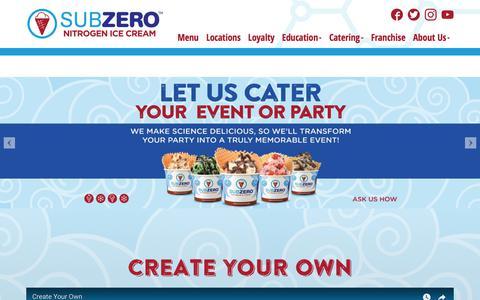 Screenshot of Menu Page subzeroicecream.com - Menu | Sub Zero Ice cream - captured Nov. 10, 2017