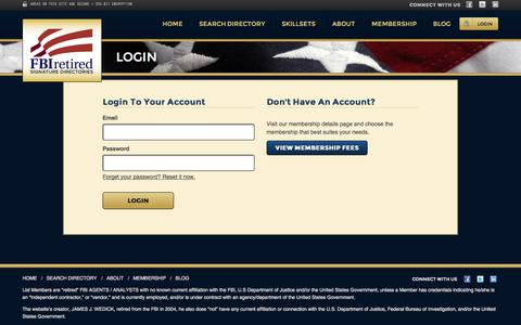 Screenshot of Login Page fbiretired.com - FBI Retired Signature Directories | Locate Retired FBI Agents / Analysts | Expert Witness on Demand - captured Oct. 5, 2014