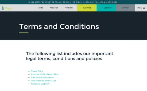 Screenshot of Terms Page ipass.com - Terms and Conditions - iPass - captured Aug. 6, 2016