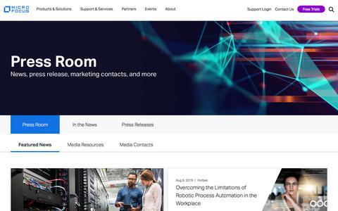 Screenshot of Press Page microfocus.com - Press Room   Micro Focus - captured Nov. 1, 2019