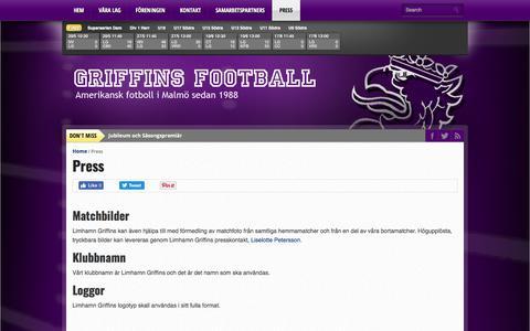 Screenshot of Press Page limhamn-griffins.com - Press - Griffins Football - captured July 20, 2018