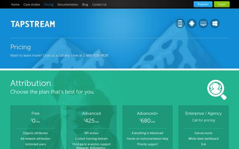 Screenshot of Pricing Page tapstream.com - Tapstream tiers and pricing - captured Sept. 10, 2014