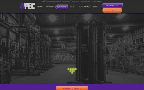 Screenshot of Home Page apecgo.com - APEC | Tyler Texas | Athlete Performance Training Facility - captured March 5, 2016