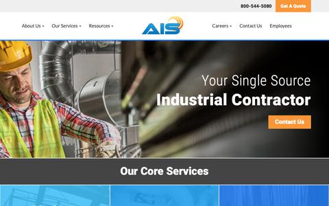 Screenshot of Home Page ais-york.com - Your One Source Industrial Contractor | Advanced Industrial Services, Inc. - captured Oct. 3, 2018
