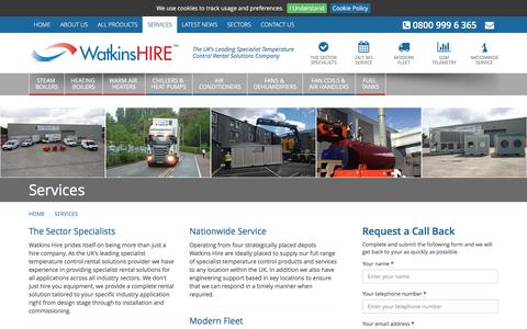 Screenshot of Services Page watkinshire.co.uk - Watkins Hire - The Sector Specialists - captured Feb. 17, 2016