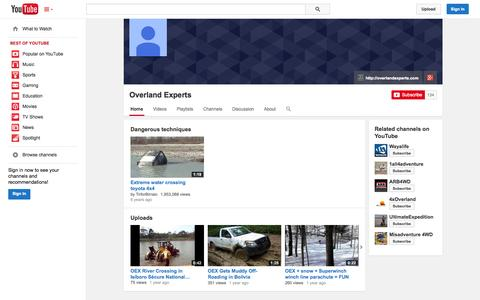 Screenshot of YouTube Page youtube.com - Overland Experts  - YouTube - captured Oct. 26, 2014