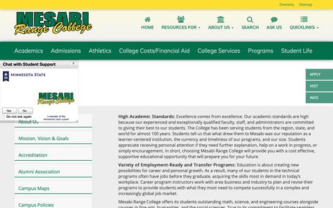 Screenshot of About Page mesabirange.edu - About | Mesabi Range College - captured Oct. 17, 2018