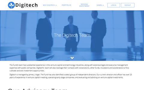 Screenshot of Team Page digitechvcfund.com - Our Team - Digitech Venture Capital Fund, Inc. - captured July 9, 2018