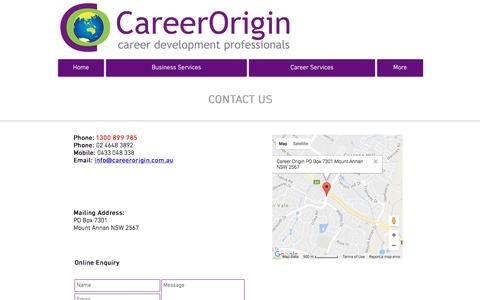 Screenshot of Contact Page careerorigin.com.au - Career Origin - Contact Us - captured May 14, 2017