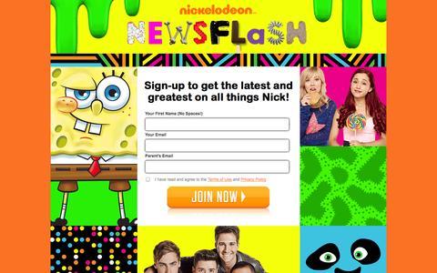 Screenshot of Signup Page nick.com - Nick Newsletter - Signup - Page - captured Sept. 19, 2014