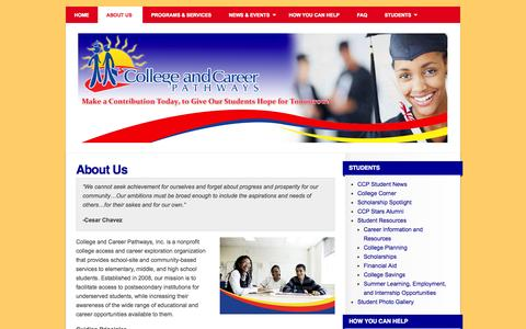 Screenshot of About Page collegeandcareerpathways.org - About Us | College and Career Pathways - captured Oct. 3, 2014