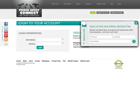 Screenshot of Login Page mediaguestconnect.com - MediaGuestConnect - Homepage - captured Nov. 28, 2016