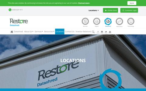 Screenshot of Locations Page restore.co.uk - Shredding Services Locations - captured July 27, 2018